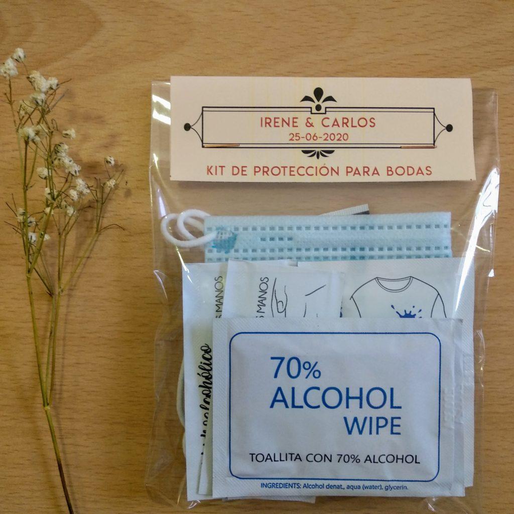 Kit de protección covid-19 para bodas con mascarilla higiénica y toallitas hidroalcoholicas